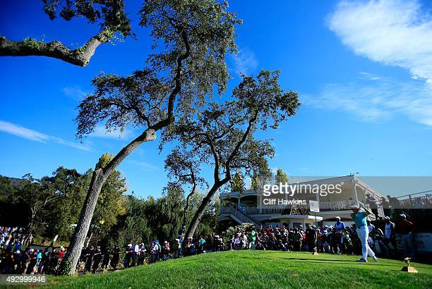 Rory McIlroy of Northern Ireland plays his shot from the tenth tee during the second round of the Frys.com Open on October 16, 2015 at the North...