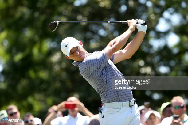 Rory McIlroy of Northern Ireland plays his shot from the third tee during the first round of the 2019 Wells Fargo Championship at Quail Hollow Club...