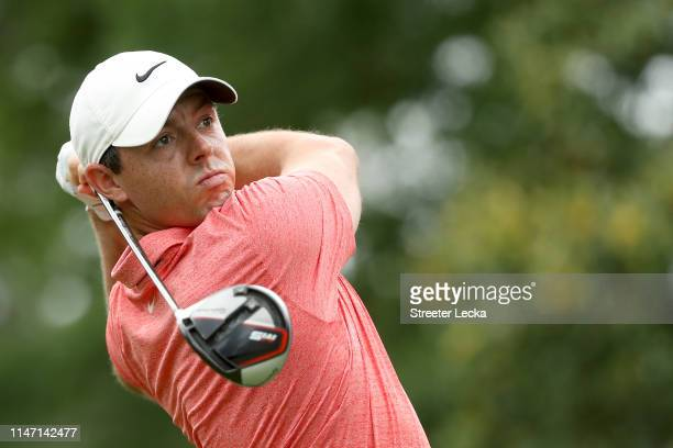 Rory McIlroy of Northern Ireland plays his shot from the third tee during the final round of the 2019 Wells Fargo Championship at Quail Hollow Club...