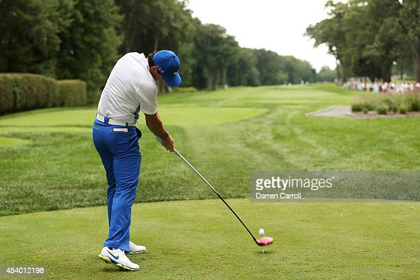 Rory McIlroy of Northern Ireland plays his shot from the third tee during the third round of The Barclays at The Ridgewood Country Club on August 23...