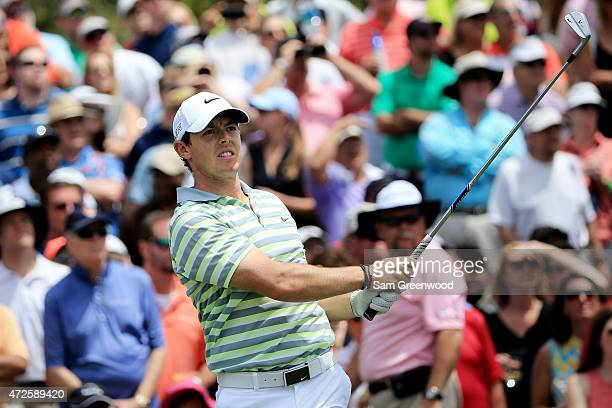 Rory McIlroy of Northern Ireland plays his shot from the third tee during round two of THE PLAYERS Championship at the TPC Sawgrass Stadium course on...