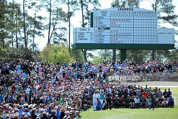 Rory McIlroy of Northern Ireland plays his shot from the third tee during the second round of the 2016 Masters Tournament at Augusta National Golf...