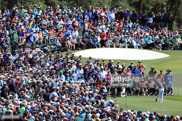 Rory McIlroy of Northern Ireland plays his shot from the third tee during the third round of the 2016 Masters Tournament at Augusta National Golf...