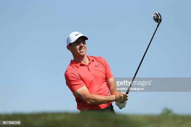 Rory McIlroy of Northern Ireland plays his shot from the third tee during round three of the Abu Dhabi HSBC Golf Championship at Abu Dhabi Golf Club...