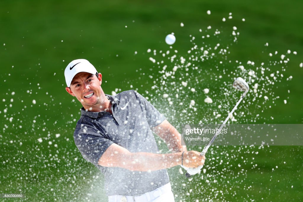 Rory McIlroy of Northern Ireland plays his shot out of the bunker on the first hole during the second round of the 2017 PGA Championship at Quail Hollow Club on August 11, 2017 in Charlotte, North Carolina.