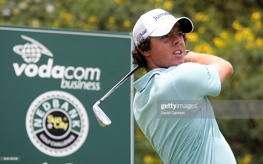Rory McIlroy of Northern Ireland plays his tee shot at the 13th hole during the pro-am as a preview for the 2009 Nedbank Golf Challenge at the Gary Player Country Club Course on December 2, 2009 in Sun City, South Africa.