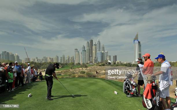 Rory McIlroy of Northern Ireland plays his tee shot at the par 4, 8th hole during the second round of the 2012 Omega Dubai Desert Classic on the...