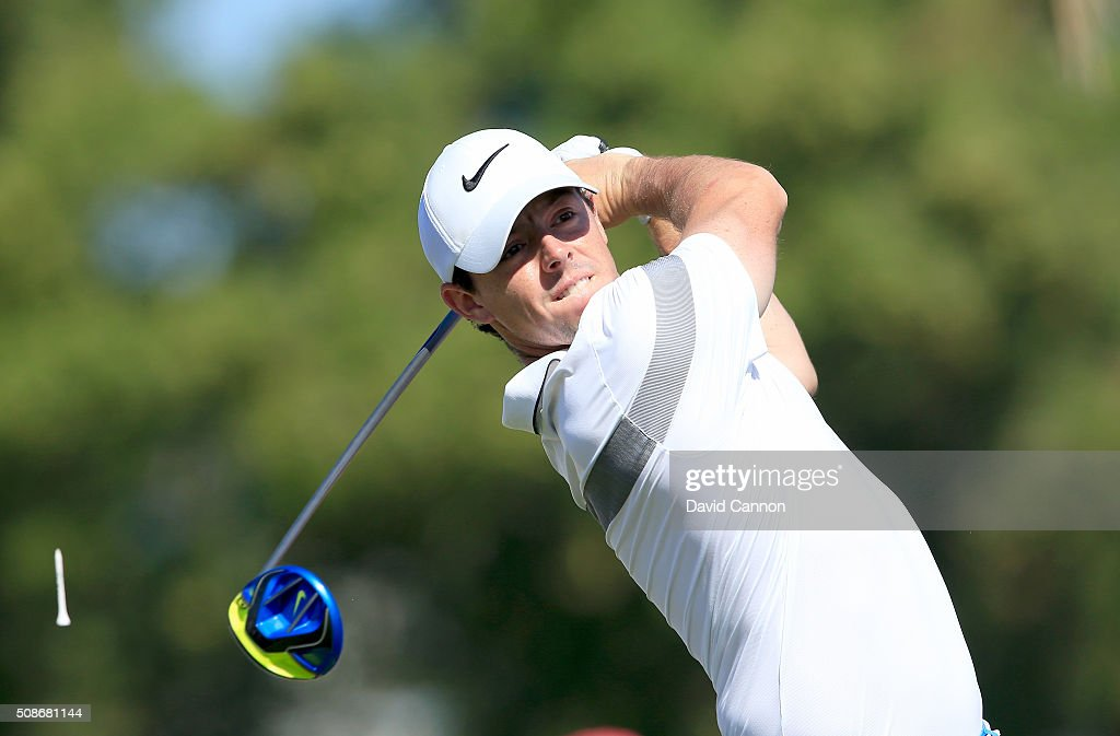 Rory McIlroy of Northern Ireland plays his tee shot at the par 5, third hole during the third round of the 2016 Omega Dubai Desert Classic on the Majlis Course at the Emirates Golf Club on February 6, 2016 in Dubai, United Arab Emirates.