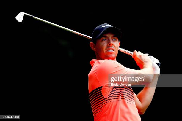 Rory McIlroy of Northern Ireland plays his tee shot on the 11th hole during the third round of the World Golf Championships Mexico Championship at...