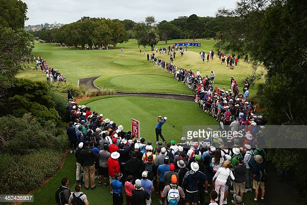 Rory McIlroy of Northern Ireland plays his tee shot on the 15th hole during day two of the Australian Open at Royal Sydney Golf Club on November 29,...