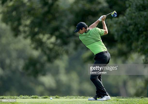Rory McIlroy of Northern Ireland plays his tee shot on the fifth hole during the first round of The Barclays in the PGA Tour FedExCup PlayOffs on the...