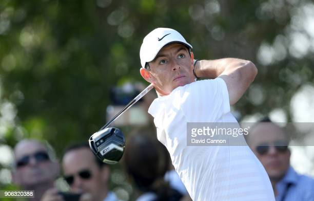 Rory McIlroy of Northern Ireland plays his tee shot on the par 4 17th hole during the first round of the 2018 Abu Dhabi HSBC Golf Championship at the...