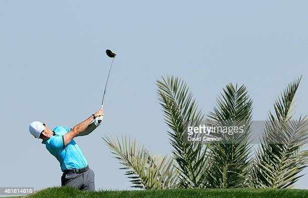 Rory McIlroy of Northern Ireland plays his tee shot on the par 4, third hole during the second round of the Abu Dhabi HSBC Golf Championship at Abu...
