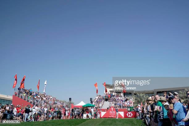 Rory McIlroy of Northern Ireland plays his tee shot on the par 4 first hole during the second round of the 2018 Abu Dhabi HSBC Gof Championship at...