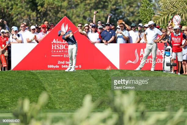 Rory McIlroy of Northern Ireland plays his tee shot on the par 5 second hole during the second round of the 2018 Abu Dhabi HSBC Gof Championship at...