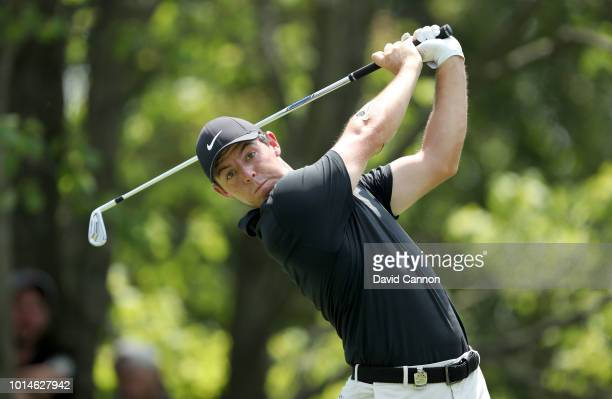 Rory McIlroy of Northern Ireland plays his tee shot on the second hole during the second round of the 100th PGA Championship at the Bellerive Country...