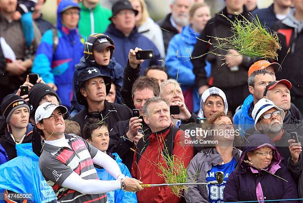 Rory McIlroy of Northern Ireland plays his third shot at the 17th hole during the third round of the 2012 Irish Open held on the Dunluce Links at...