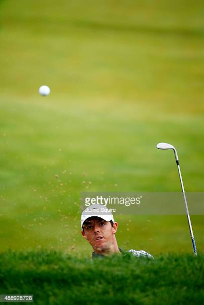 Rory McIlroy of Northern Ireland plays his third shot on the 15th hole during the Second Round of the BMW Championship at Conway Farms Golf Club on...