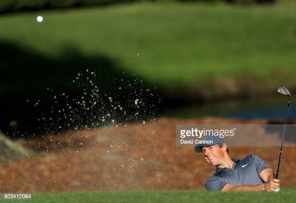 Rory McIlroy of Northern Ireland plays his third shot on the par 4 12th hole during the second round of the 2018 Honda Classic on The Champions...