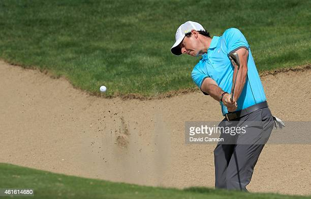 Rory McIlroy of Northern Ireland plays his third shot on the par 5, second hole during the second round of the Abu Dhabi HSBC Golf Championship at...