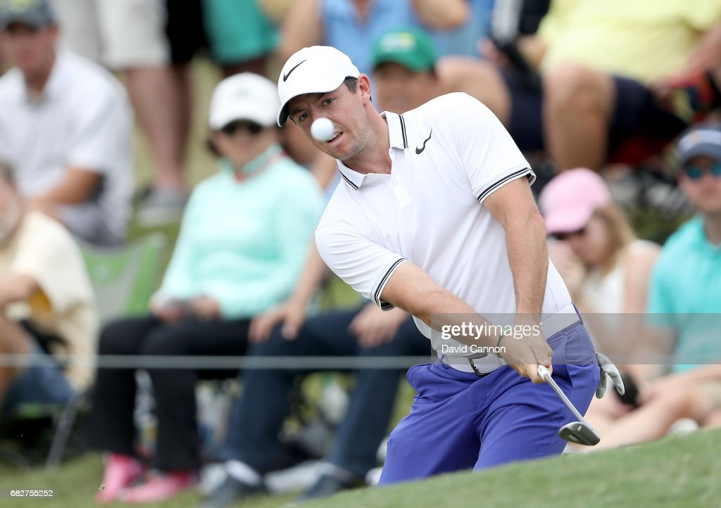 Rory McIlroy of Northern Ireland plays his third shot on the par 5, 16th hole during the third round of the THE PLAYERS Championship on the Stadium Course at TPC Sawgrass on May 13, 2017 in Ponte Vedra Beach, Florida.