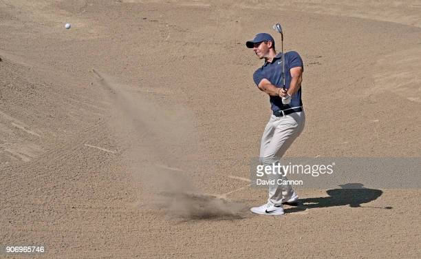 Rory McIlroy of Northern Ireland plays his third shot on the par 5 second hole during the second round of the 2018 Abu Dhabi HSBC Golf Championship...
