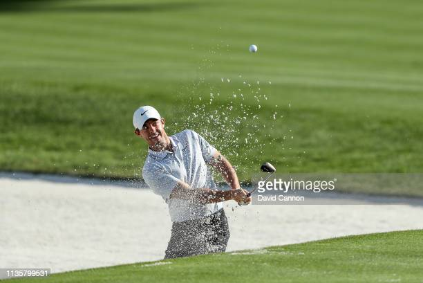 Rory McIlroy of Northern Ireland plays his third shot on the par 511th hole during the first round of the 2019 Players Championship held on the...