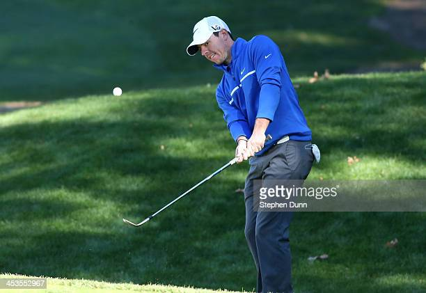 Rory McIlroy of Northern Ireland plays onto the green on the fifth hole during the Pro-Am for the Northwestern Mutual World Challenge at Sherwood...