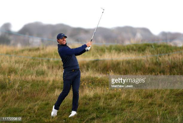 Rory McIlroy of Northern Ireland plays their second shot on the 2nd hole during Day one of the Alfred Dunhill Links Championship at Carnoustie Golf...