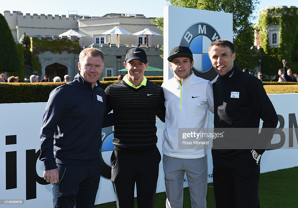 Rory McIlroy of Northern Ireland poses with former Manchester United footballers Paul Scholes (L) and Phil Neville (R) and Niall Horan of One Direction during the Pro-Am ahead of the BMW PGA Championship at Wentworth on May 20, 2015 in Virginia Water, England.
