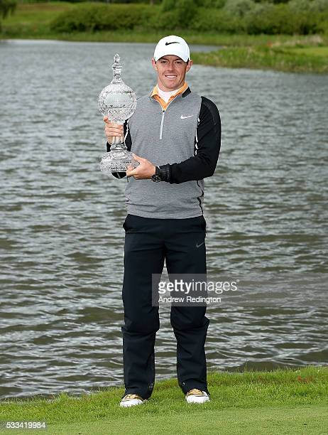 Rory McIlroy of Northern Ireland poses with the trophy after winning the Dubai Duty Free Irish Open Hosted by the Rory Foundation at The K Club on...