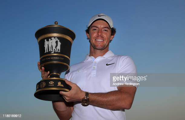Rory McIlroy of Northern Ireland poses with the trophy after winnng the WGC HSBC Champions at Sheshan International Golf Club on November 03 2019 in...