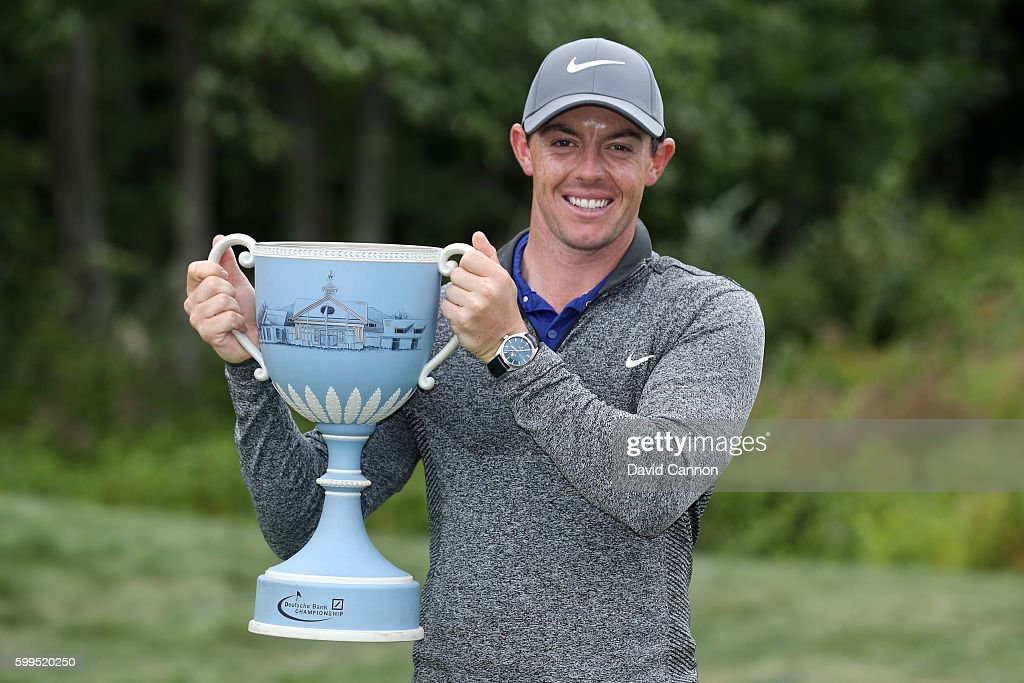 Rory McIlroy of Northern Ireland poses with the trophy during the final round of the Deutsche Bank Championship at TPC Boston on September 5, 2016 in Norton, Massachusetts.