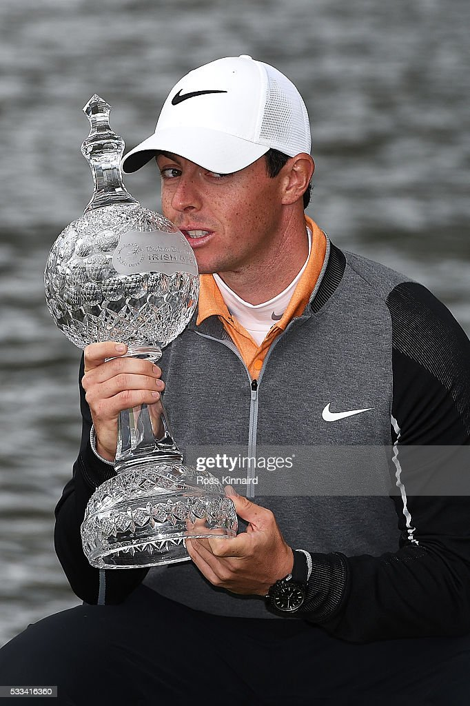 Rory McIlroy of Northern Ireland poses with the trophy following his 3 shot victory during the final round of the Dubai Duty Free Irish Open Hosted by the Rory Foundation at The K Club on May 22, 2016 in Straffan, Ireland.