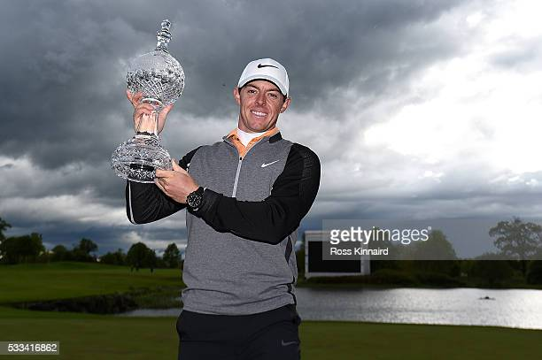 Rory McIlroy of Northern Ireland poses with the trophy following his 3 shot victory during the final round of the Dubai Duty Free Irish Open Hosted...