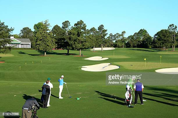 Rory McIlroy of Northern Ireland practices on the range prior to a practice round prior to the start of the 2016 Masters Tournament at Augusta...