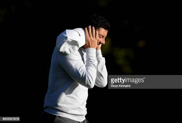Rory McIlroy of Northern Ireland prepares to reacts after his second shot on the 16th hole during day two of the British Masters at Close House Golf...