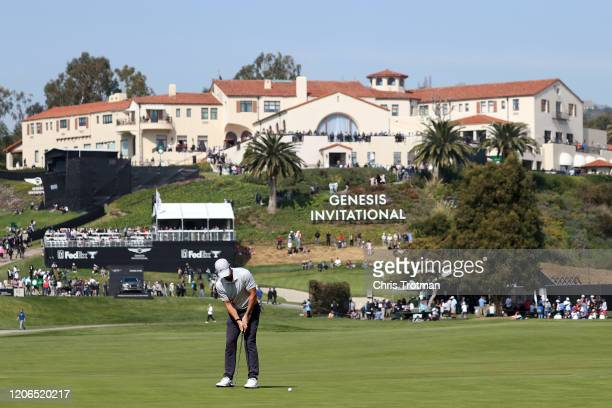 Rory McIlroy of Northern Ireland putts on the 10th green during the third round of the Genesis Invitational at Riviera Country Club on February 15...