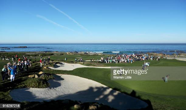 Rory McIlroy of Northern Ireland putts on the 12th green during Round Two of the ATT Pebble Beach ProAm at Monterey Peninsula Country Club on...