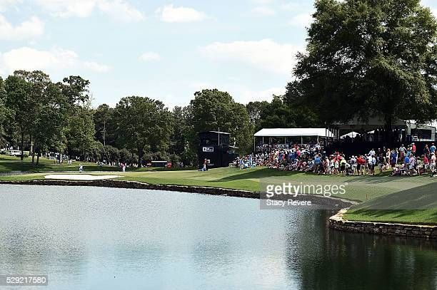 Rory McIlroy of Northern Ireland putts on the 17th green during the final round of the Wells Fargo Championship at Quail Hollow Club on May 8, 2016...