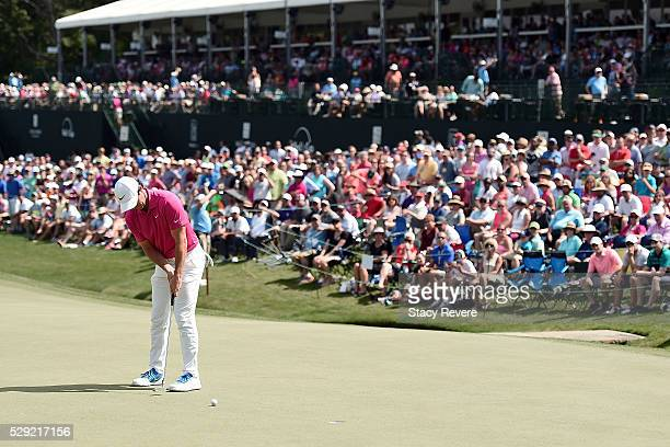 Rory McIlroy of Northern Ireland putts on the 18th green during the final round of the Wells Fargo Championship at Quail Hollow Club on May 8, 2016...