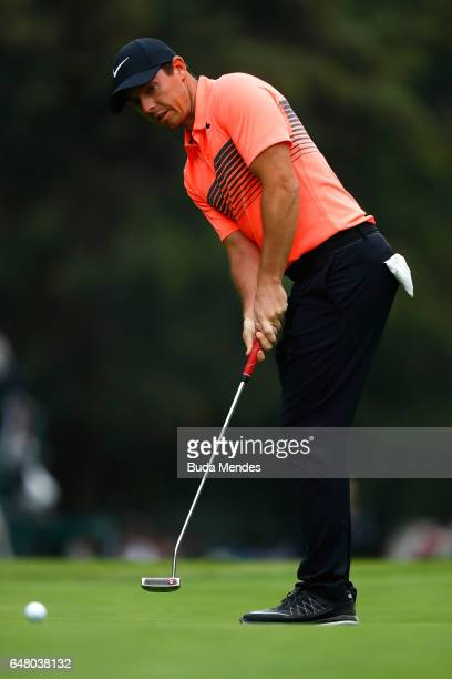 Rory McIlroy of Northern Ireland putts on the 18th hole during the third round of the World Golf Championships Mexico Championship at Club De Golf...