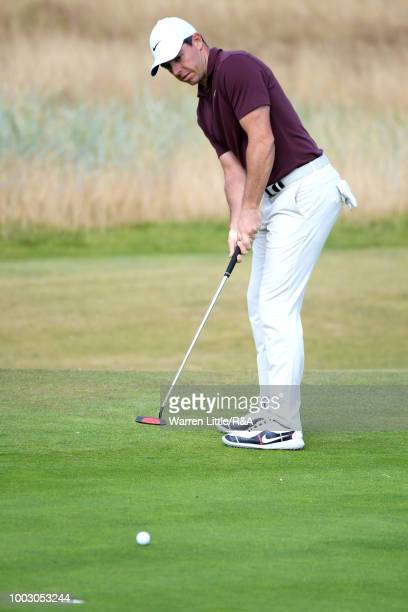 Rory McIlroy of Northern Ireland putts on the 5th hole green during round three of the Open Championship at Carnoustie Golf Club on July 21 2018 in...
