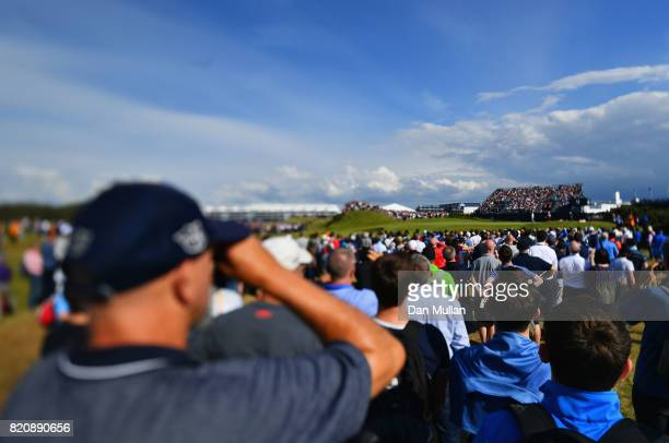 Rory McIlroy of Northern Ireland putts on the 9th green during the third round of the 146th Open Championship at Royal Birkdale on July 22 2017 in...