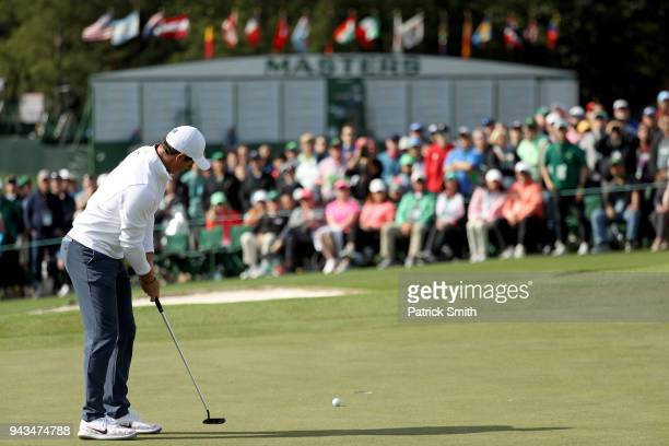 Rory McIlroy of Northern Ireland putts on the ninth hole during the final round of the 2018 Masters Tournament at Augusta National Golf Club on April...