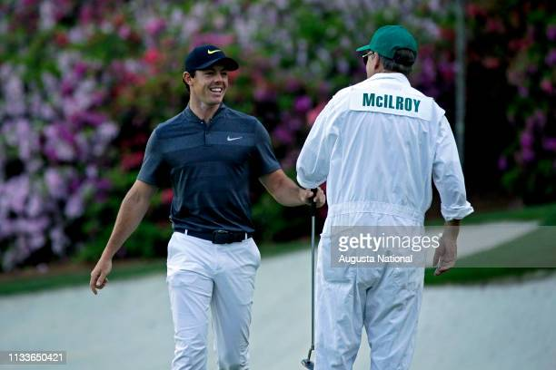 Rory McIlroy of Northern Ireland reacts after he made an Eagle on No 13 during Round 1 at Augusta National Golf Club on Thursday April 7 2016