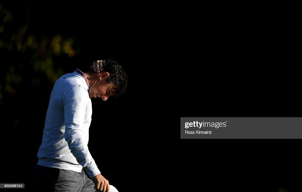 Rory McIlroy of Northern Ireland reacts after his second shot on the 15th hole during day two of the British Masters at Close House Golf Club on September 29, 2017 in Newcastle upon Tyne, England.