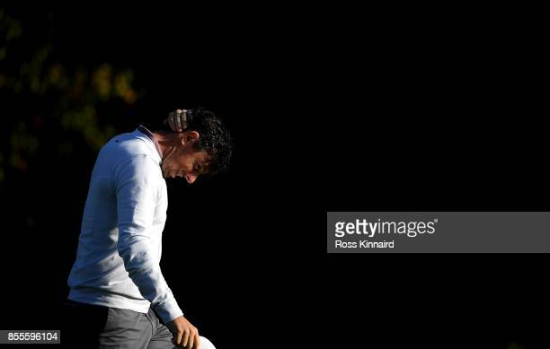 Rory McIlroy of Northern Ireland reacts after his second shot on the 15th hole during day two of the British Masters at Close House Golf Club on...