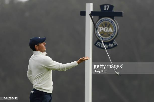 Rory McIlroy of Northern Ireland reacts after playing his shot from the 17th tee during the second round of the 2020 PGA Championship at TPC Harding...