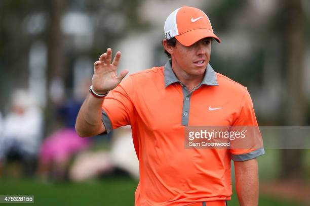 Rory McIlroy of Northern Ireland reacts after putting on the 11th hole during the first round of The Honda Classic at PGA National Resort and Spa on...